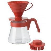 Cafetera Kit V60 Hario Pack cono rojo + jarra asa roja
