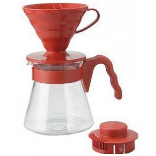 Cafetera Kit V60 Hario Pack cono rojo + jarra asa roja ( Hario)