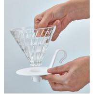 Hario Cono de goteo de cristal de base blanca V60